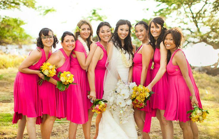Yellow Pink Bridesmaid Dresses