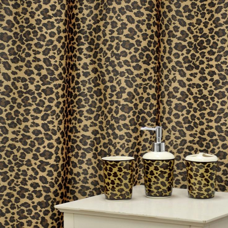 leopard brown shower curtain and ceramic bath accessory 16