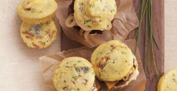 Bacon and Gorgonzola Cornbread Sliders with Chipotle Mayo (http://www ...