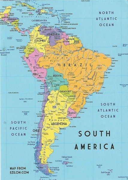 MAP OF SOUTH AMERICA Travel Pinterest