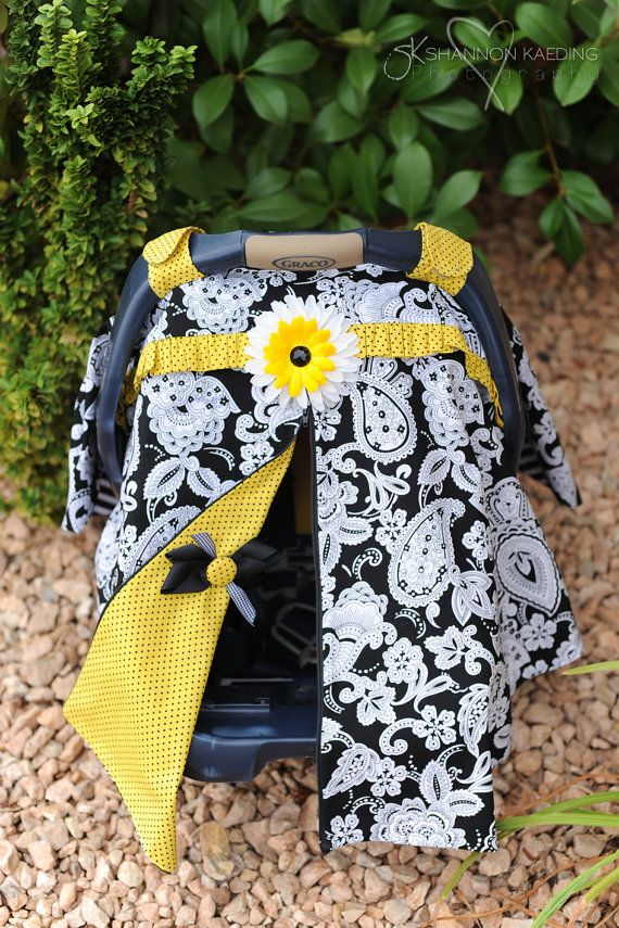 Would be a cute baby shower gift!! DIY car seat cover! These are so easy to make and I love the fun you can have embellishing!