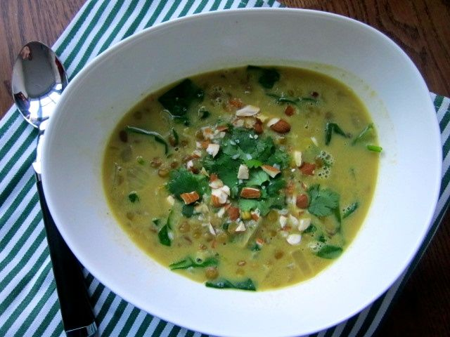 Coconut Curry Spiced Lentil Soup with Greens via The Fresh Direction