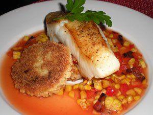 Sea Bass, Polenta Cakes, Corn Salad with Jalapeño-tomato Broth