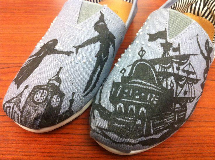 Women's Disney Peter Pan Handpainted Beaded Custom Toms. $95.00, via