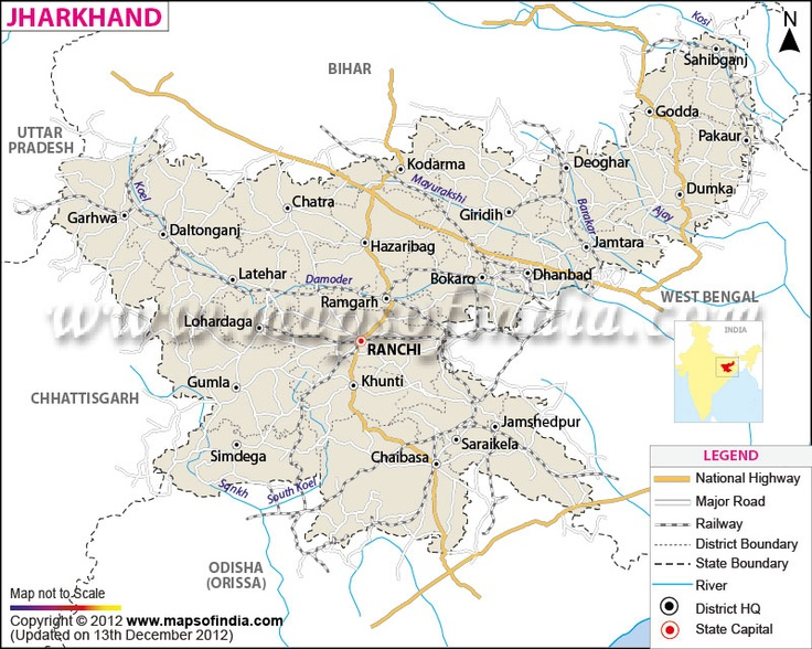 map of jharkhand state maps pinterest