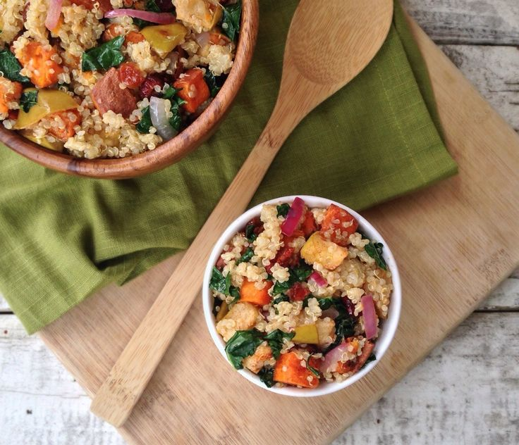 Roasted Cinnamon Apple and Sweet Potato Quinoa Salad   Recipe