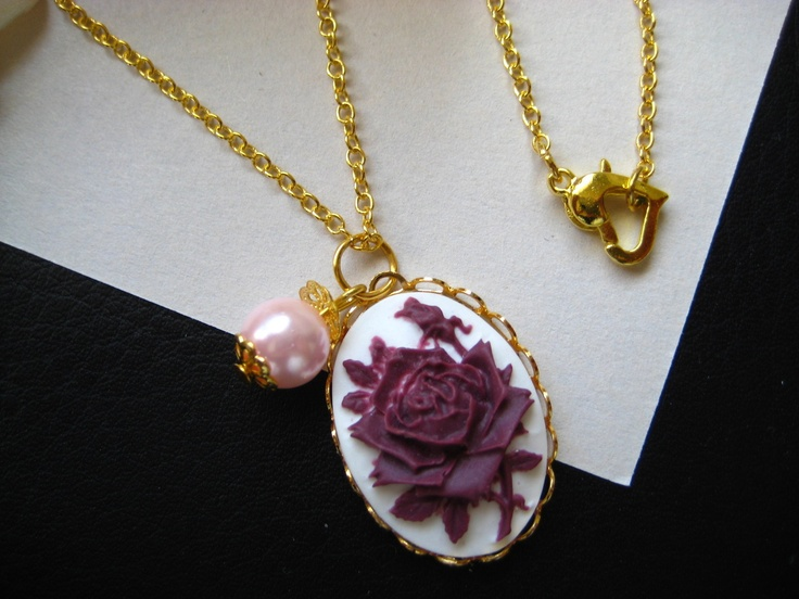 Purple Pink Vintage Rose Cameo Pendant Pearl Gold Plated Chain Necklace Jewelry | eBay