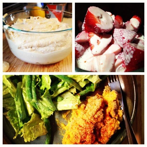 homemade hummus, strawberries & cashew cream, green beans & lettuce ...