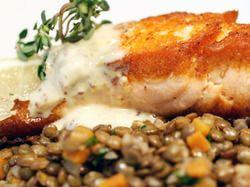 ... : Crispy Salmon with Lentils du Puy and Two-Mustard Crème Fraîche