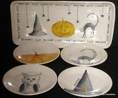 m studios halloween serving tray 8 plates witch owl