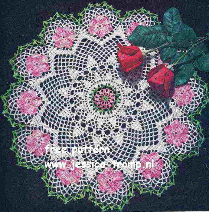 Vintage Wild Rose Crochet Doily free written pattern.