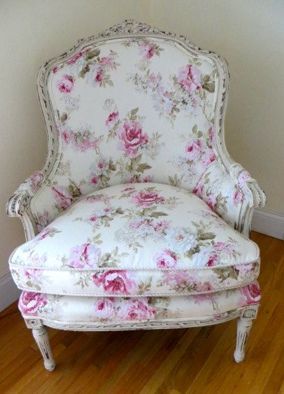 Shabby Chic Sofas And Chairs : Shabby Chic upholstered Louis XVI Bergere Chair
