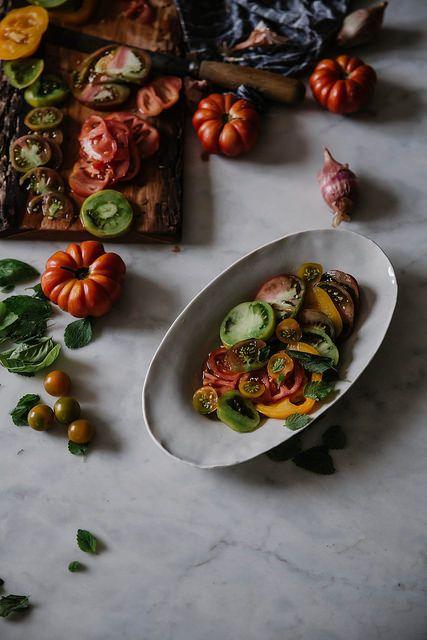 heirloom tomato galette + lemon balm almond pesto & chevre by Beth ...