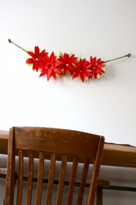 DIY: Water Bottle Poinsettia Garland