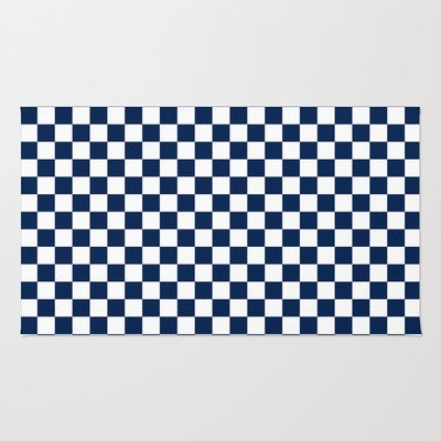 Checkered blue and white rug by zen and chic - Checkerboard area rug ...