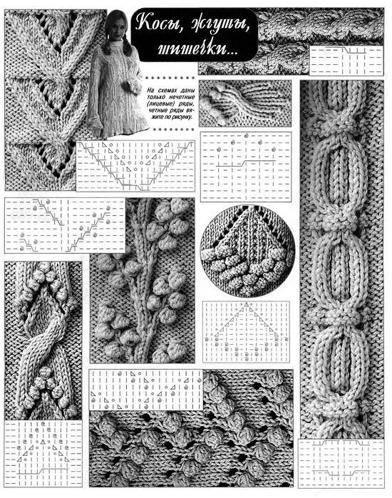 Схемы вязания кос на спицах 54