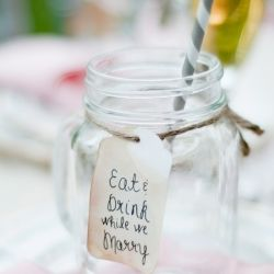 These adorable mason jar mugs are the perfect glasses and favors for wedding guests!