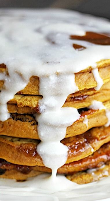 Pumpkin Cinnamon Roll Pancakes | Recipe