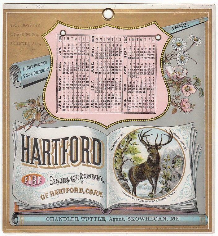 ... Card for Hartford Fire Insurance Co 1882 Calendar Trade Card for WA