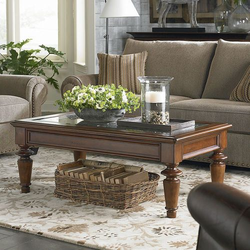 Basket under coffee table tray on top for the home - Table basse classique ...