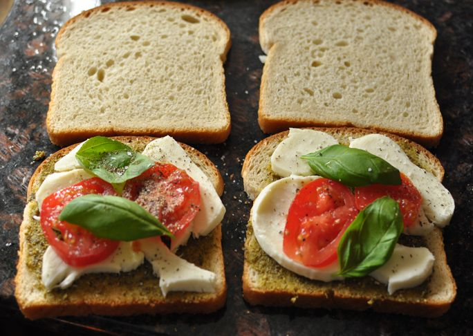 Caprese grilled cheese sandwiches: 8 slices bread, ½ cup pesto sauce ...