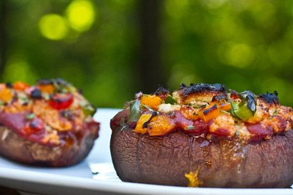 Easy Stuffed Portabella Pizza in a Cashew Basil Cheese Sauce by Oh She ...