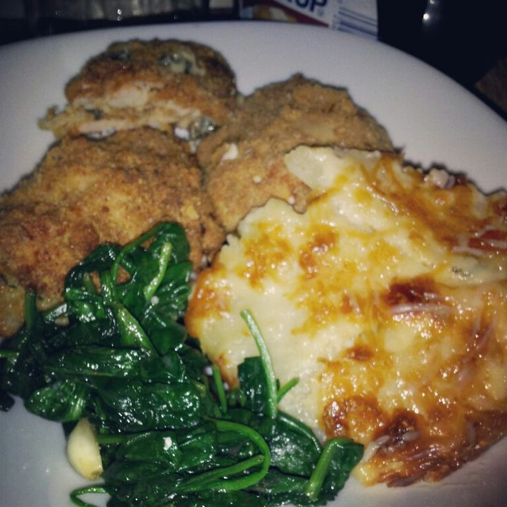 Spinach and kale stuffed chicken cutlet potato au gratin and sauteed ...