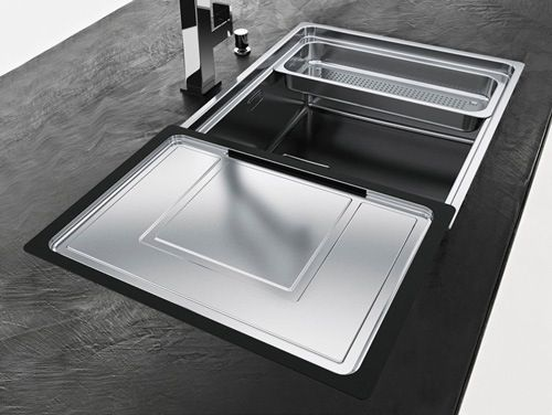 Franke Sink Cover : Simple and modern kitchen sink with sliding cover in silver and black ...