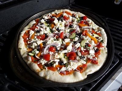 Supreme Veggie Pizza with Mozzarella and Feta
