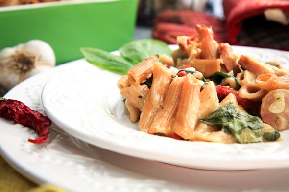 Back to Her Roots | Cheesy bake penne with spinach and italian sausage