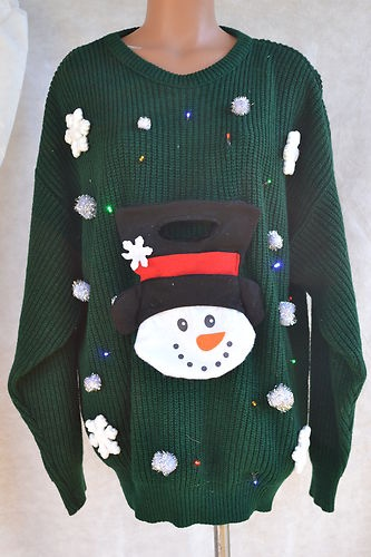 Ugly Christmas Sweater Back Road Blues Light Up Snowman Green Size XXL ...