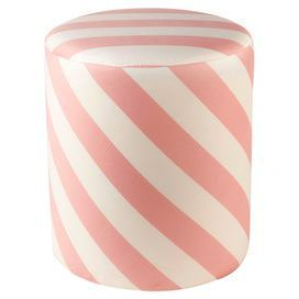 """Bold striping gives this cotton sateen ottoman a playful air, perfect as a chic vanity stool or footrest.  Product: OttomanConstruction Material: Wood and cotton sateenColor: Pink and off-whiteDimensions: 17 """" H x 15"""" DiameterCleaning and Care: Dry clean"""