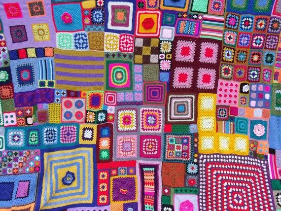 Большое одеяло вязания пэчворк по BettyButtonsDesign на Etsy, ? 1000,00