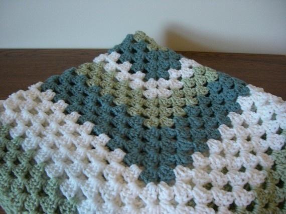 Green Crochet Afghan Pattern : Blue Green and White Crochet Afghan The Home Pinterest