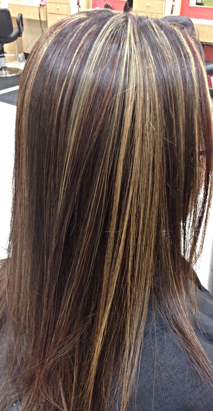 Dark Red Hair With Chunky Blonde Highlights