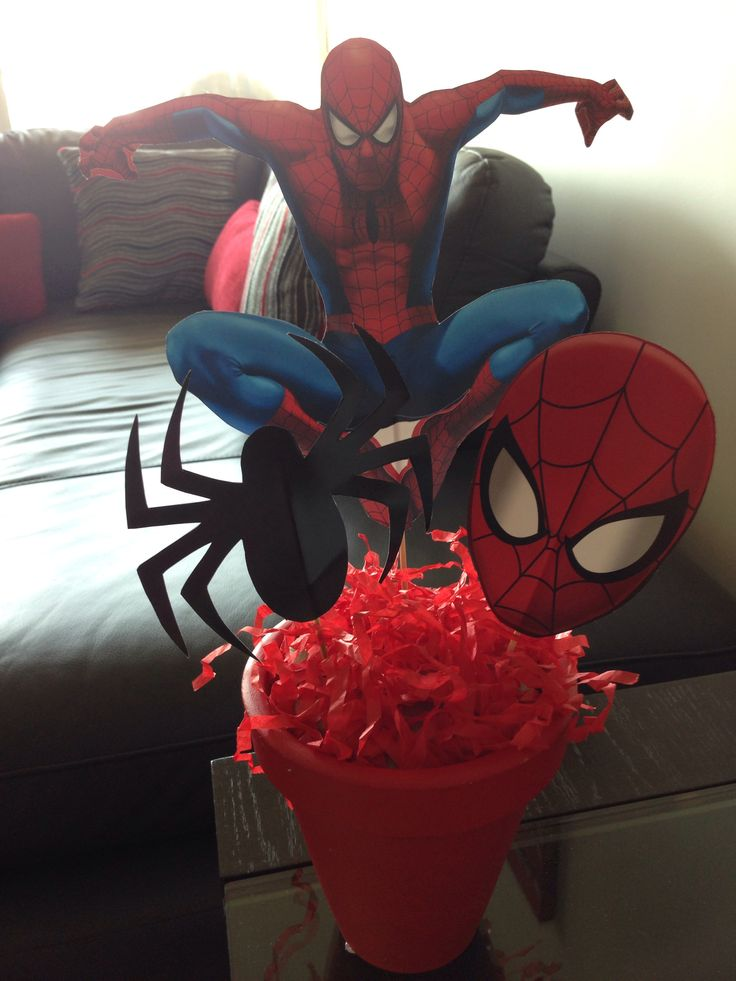 Spiderman centerpiece party ideas pinterest for Spiderman decorations
