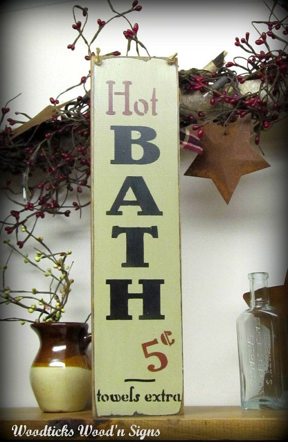 wooden signs hot baths 5 cents bathroom decor humorous bath sign