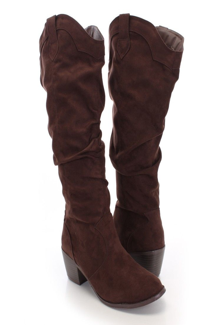 brown faux suede slouchy knee high heel boots