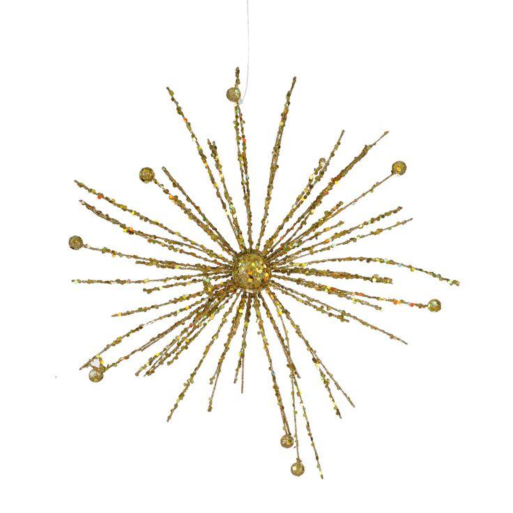 Quot gold sparkle starburst ornament christmas
