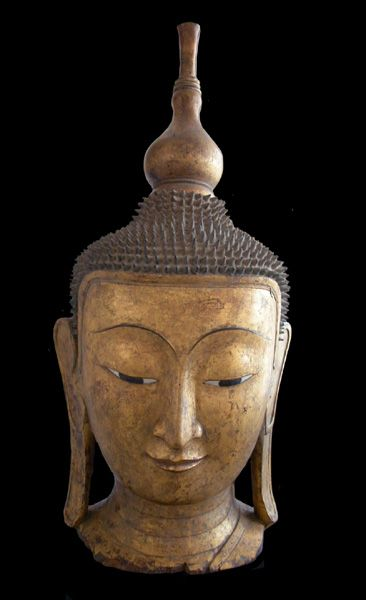 "Shan Gilt Wood Head of Buddha  Origin: Myanmar Circa: 18 th Century AD Dimensions: 54.5"" high x 20.5"" wide Collection: Asian Medium: Gilt Wood"