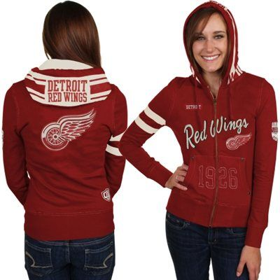 Old Time Hockey Detroit Red Wings Ladies Roxanne Full Zip Hoodie - Red