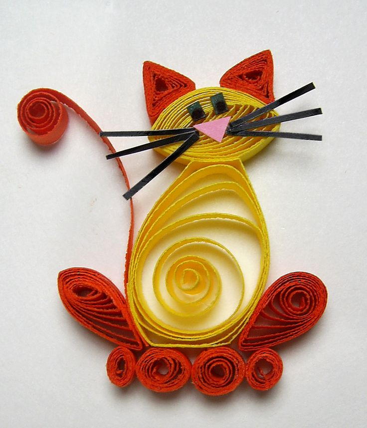 Colorful quilled cat paper quilling pinterest for How to quilling art