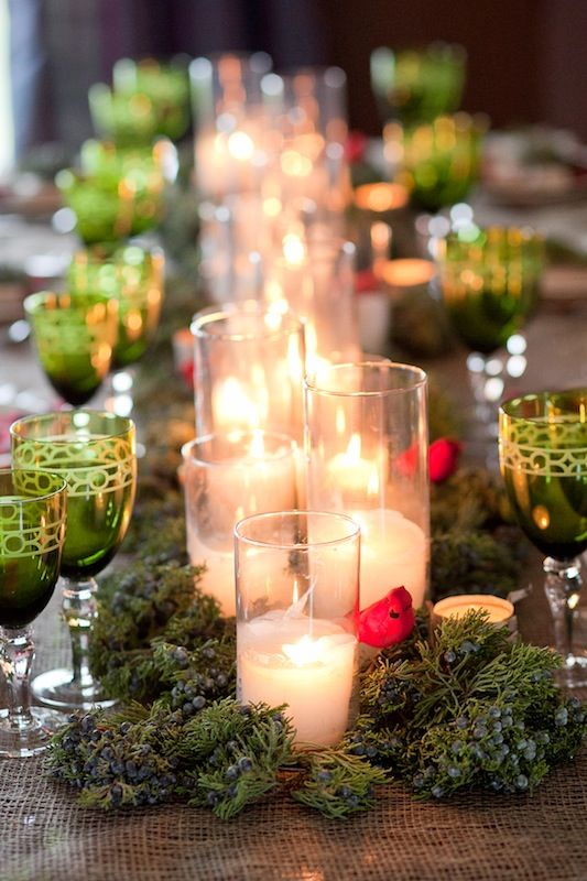 Pillar candles and greenery centerpiece party ideas