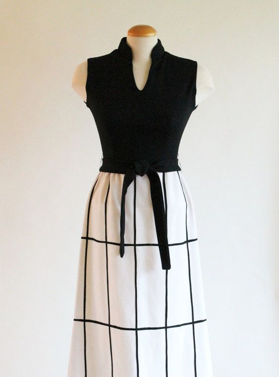 60s dress black and white maxi dress with grid by quincevintage 36