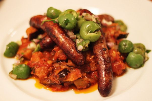 ... with Eggplant Jam and Green Olives / the Amateur Gourmet #merguez