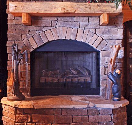 Log Cabin Stone Fireplace Monroe County Home Pinterest