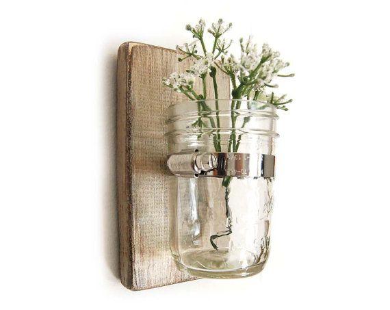 Wood Sconce Mason Jar Wall Vase French Country Decor Shabby Chic SET