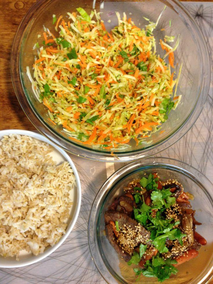Broccoli cole slaw, beef stirfry, brown rice