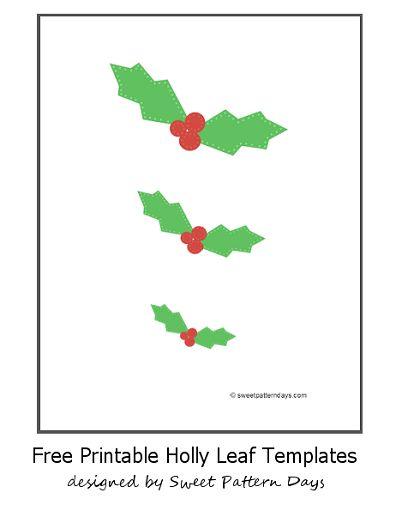 Holly Leaf Templates Free | Christmas Printables | Pinterest