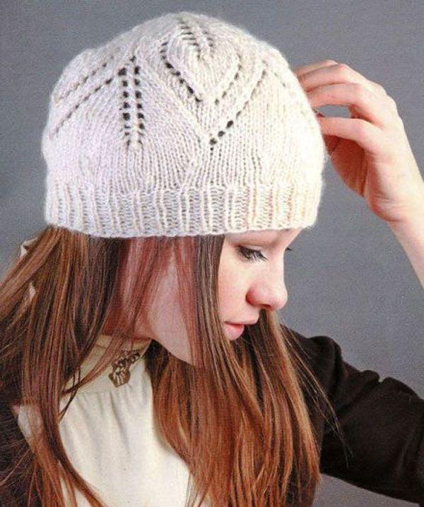 Ажурное вязание спицами шапки 43